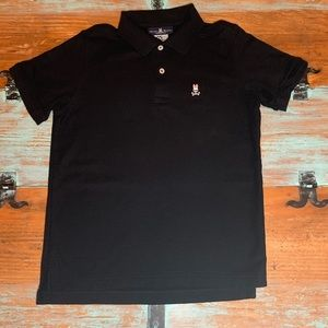 PSYCHO BUNNY Boys Classic Polo Pima Cotton Black